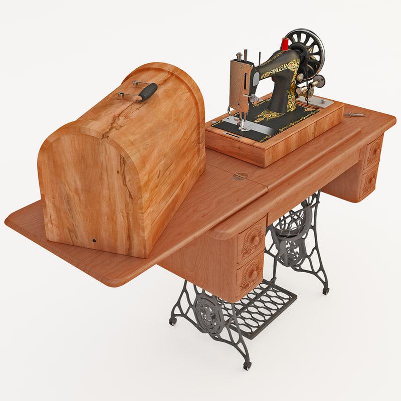 antique singer sewing machine 3d model