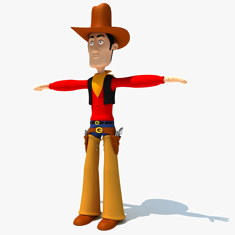 rigged cartoon cowboy character biped 3d model