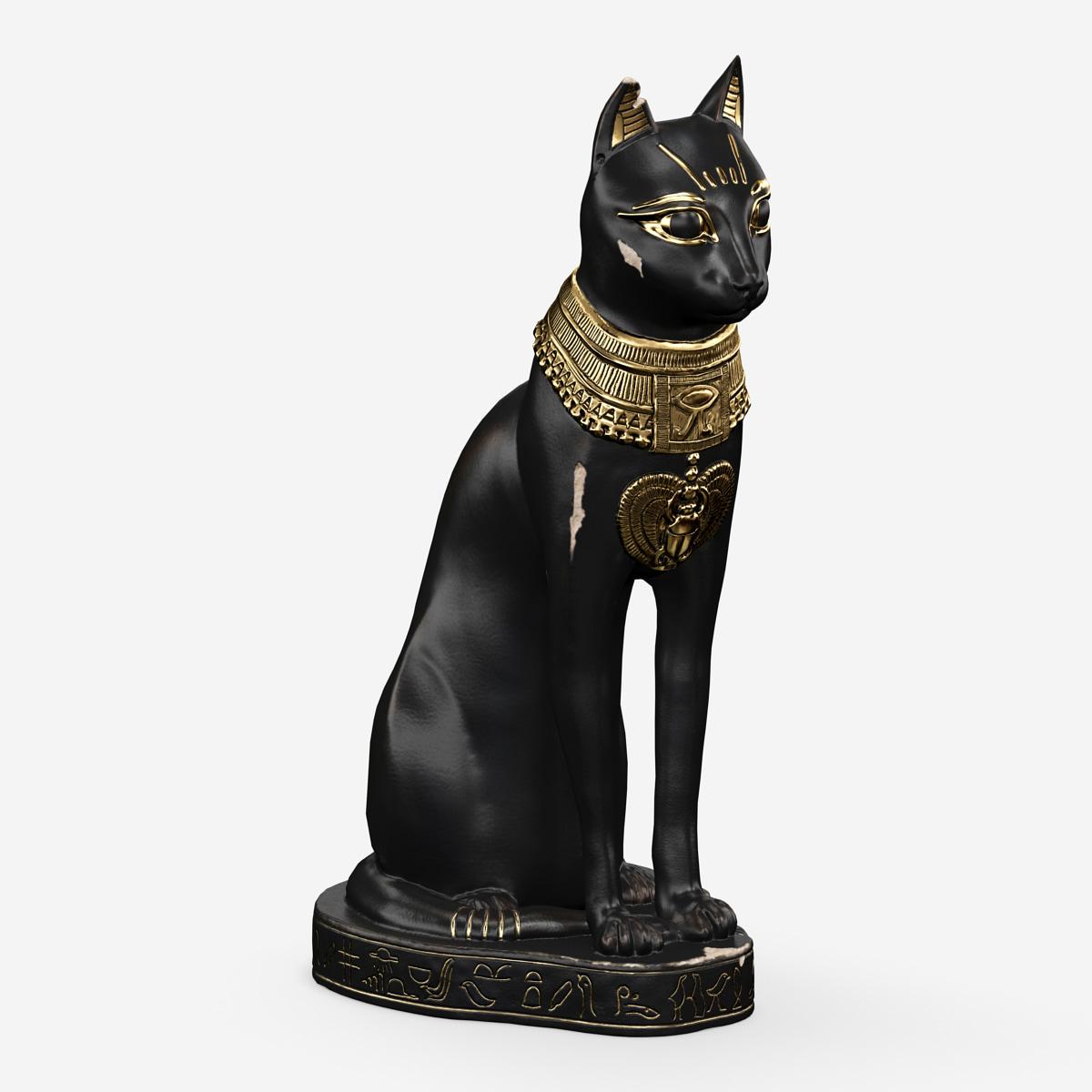 3d model egyptian cat statue