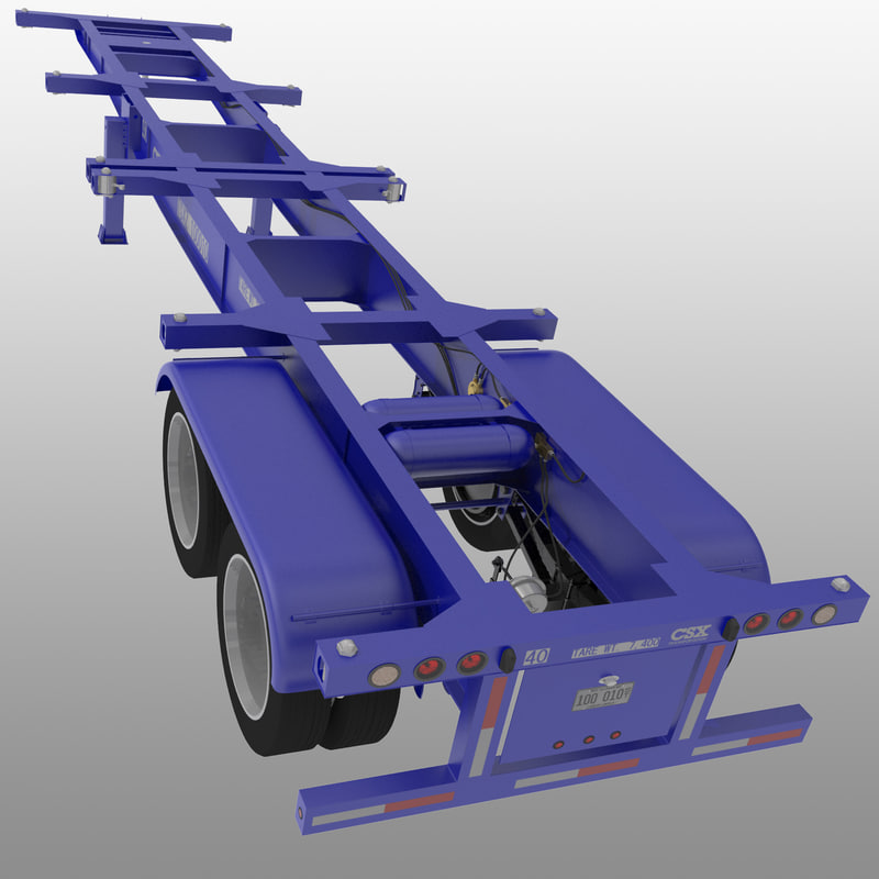 3d 40ft iso container chassis