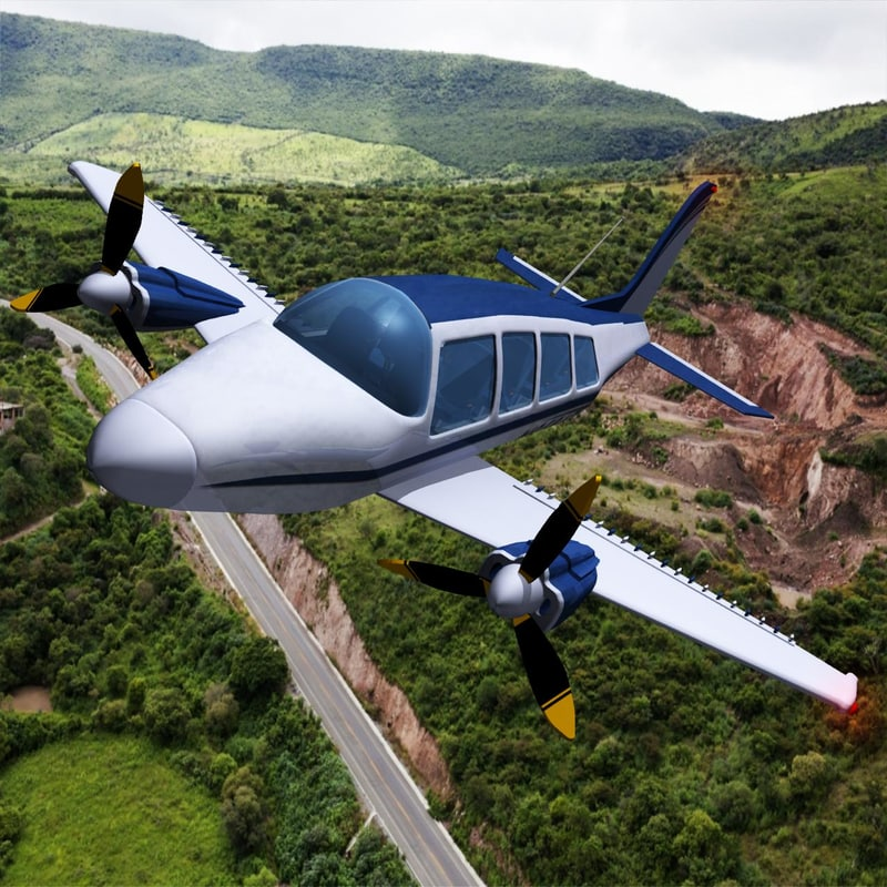 3d twin piston small airplane