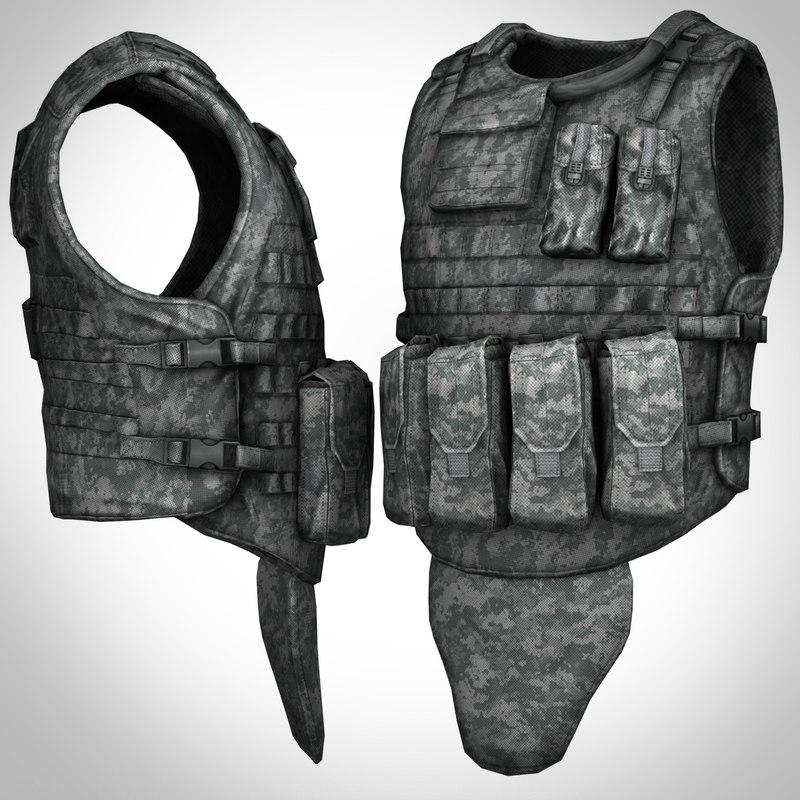 3d model military bullet-proof vest