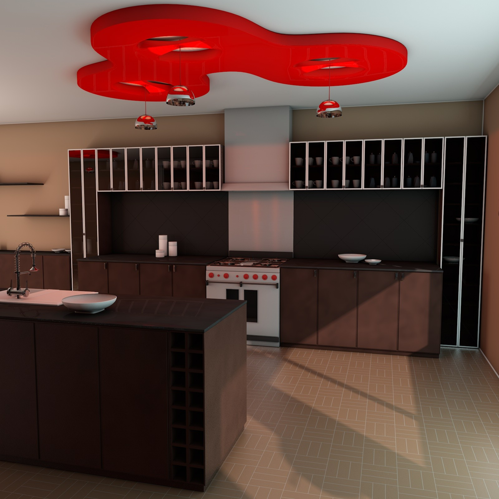 elegant kitchen scene 3d c4d