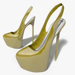 3d heels slingback shoes model