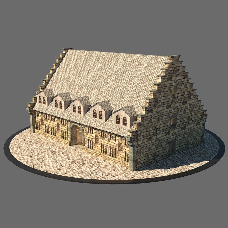 3d medieval market hall