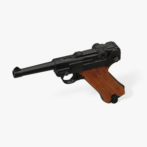 pistole luger 3d obj