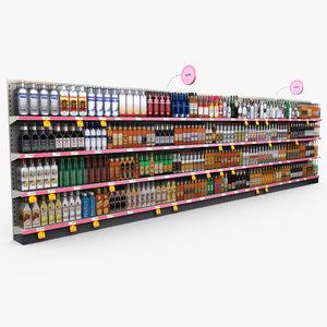 3d retail store shelves - model