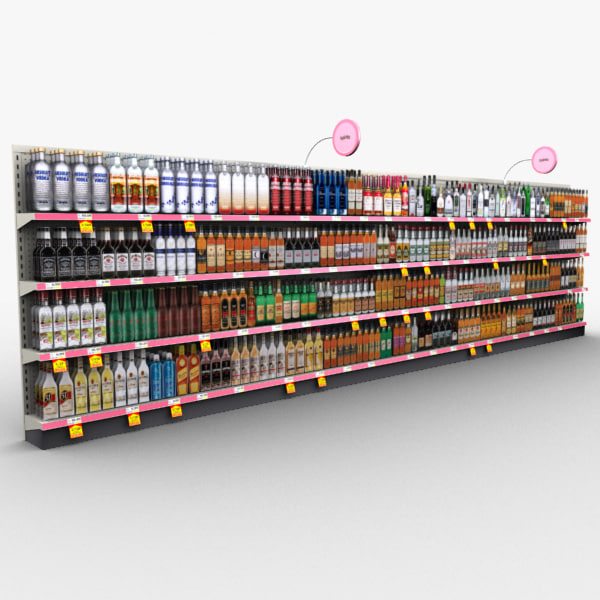 3d retail store shelves - model