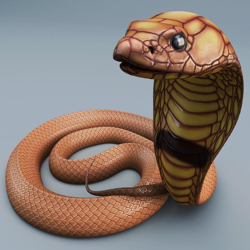 snake cobra pose 2 3d model