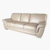 3d model of leather 3-seat sofa