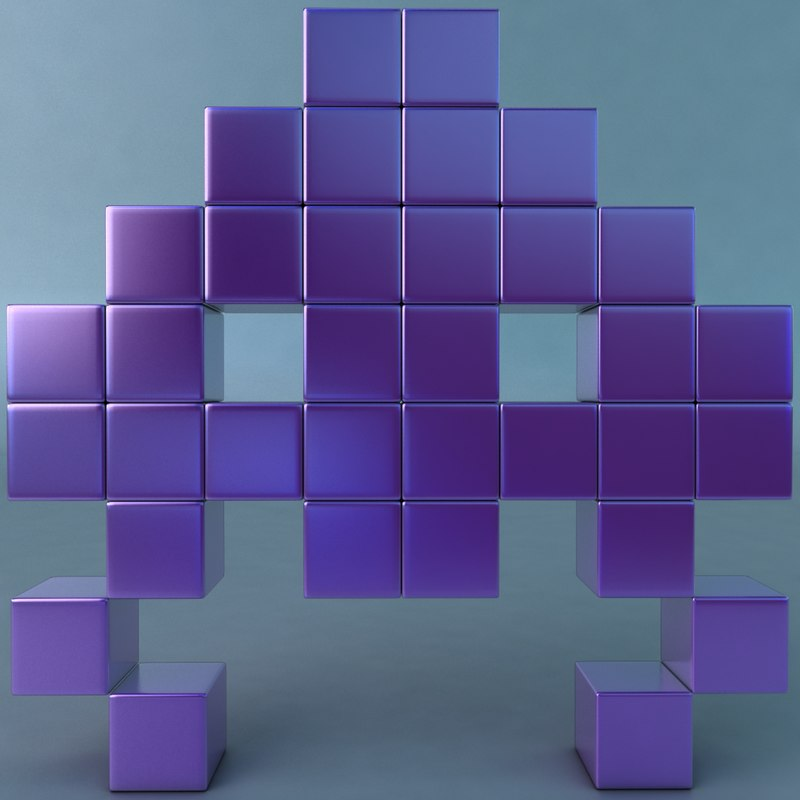 space invaders 3d model