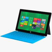 3d model blue microsoft surface tablet