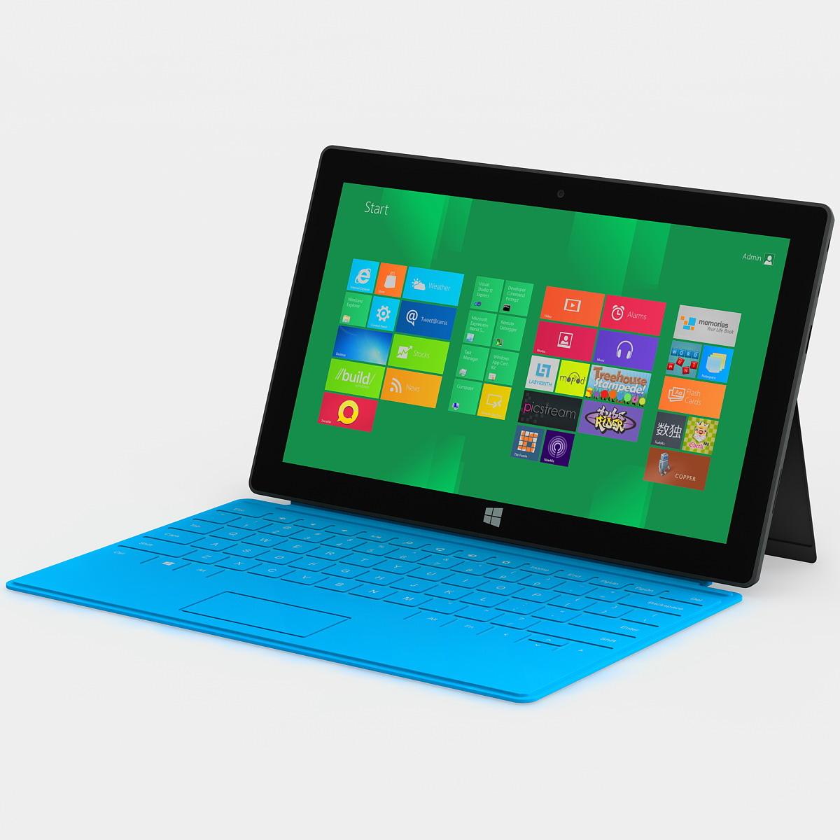 3d model blue microsoft surface tablet