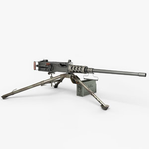 3d model realistic m2 browning machine gun