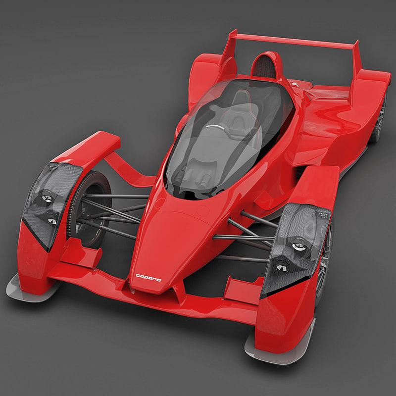 realistic supercar caparo t1 3d model