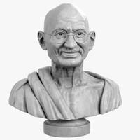 decorative bust mahatma gandhi 3d max