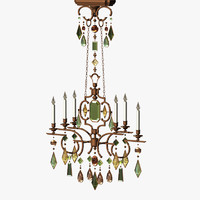 chandelier gems gemstone lighting 3d lwo