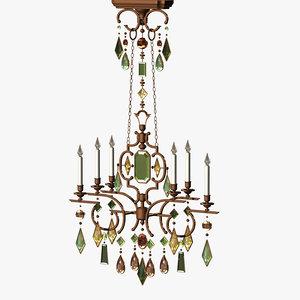chandelier gems gemstone lighting 3d lwo