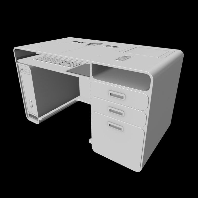 3d workstation office work desk
