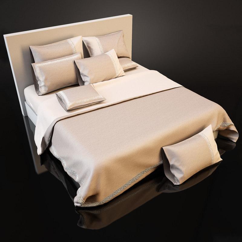 3d model of bedcloth bed
