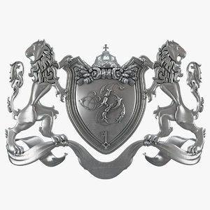 3d roll arms lions shield