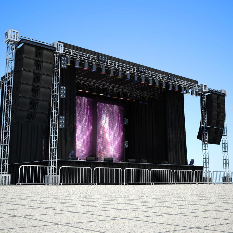 3d big live stage scene model