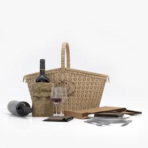 3d realistic picnic basket model