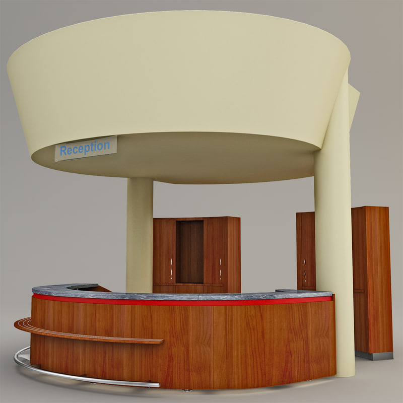 3d reception desk office model