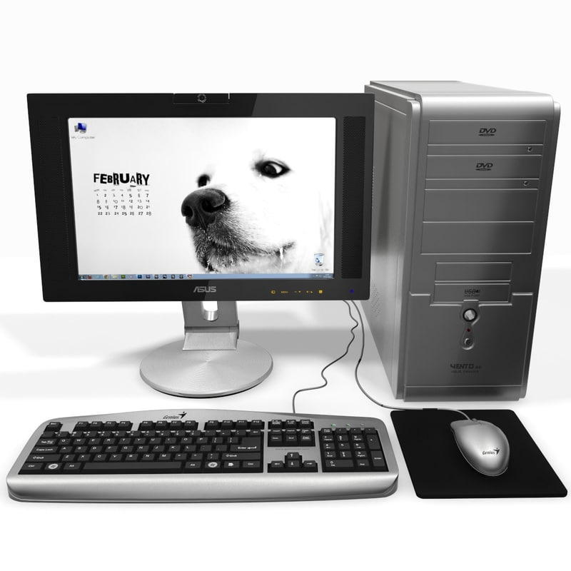 3d model computer silver monitor
