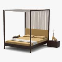 canopy bed walnut wood 3d max