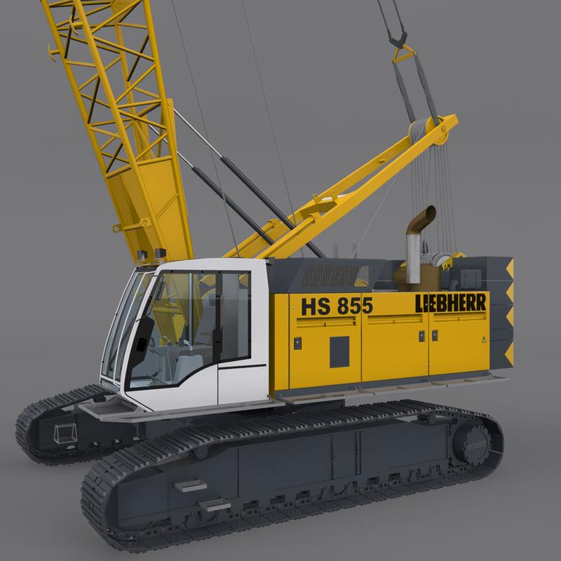 3d crawler crane rigged