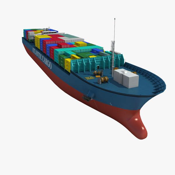 realistic cargo ship 3d model