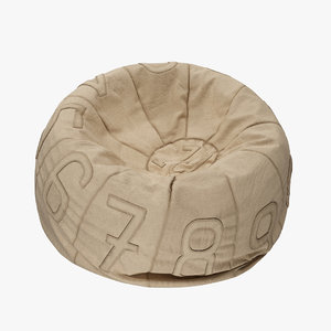3d model recycled canvas number bean bag