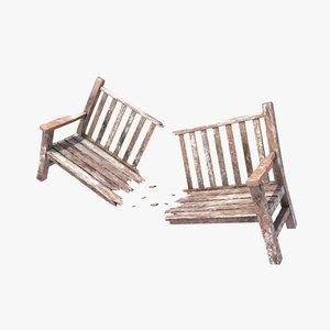 park garden bench broken 3d model