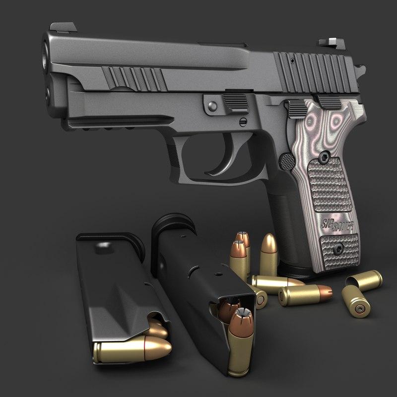 sig sauer p229 pistols 3d model