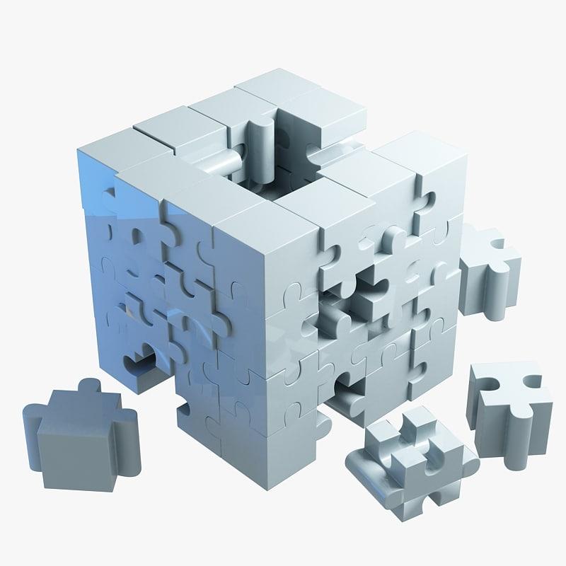 3d model jigsaw puzzle building blocks