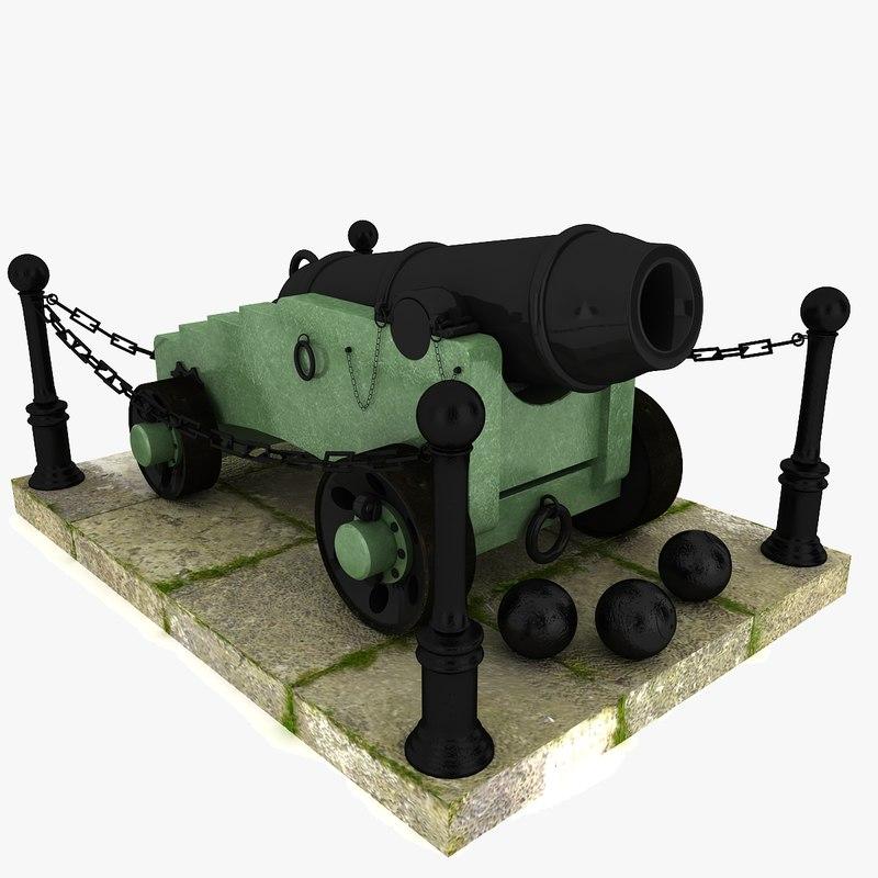 3d model cannon artillery