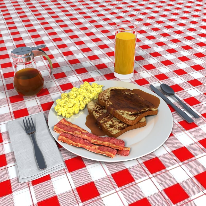 french toast breakfast 3d model