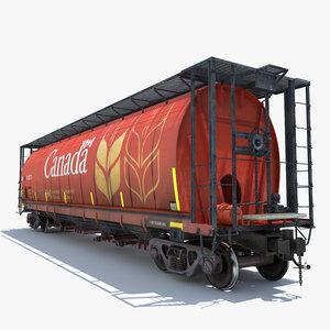 3d model railway grain car cargo train
