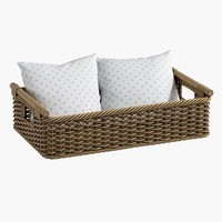 Wicker Basket and Pillow