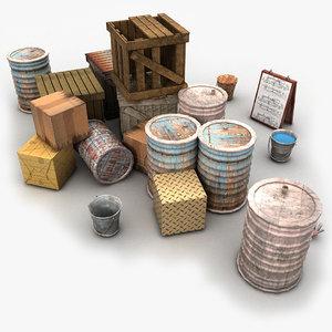 junk wood crate 3d obj