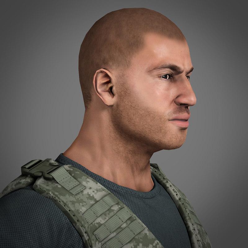 soldier mercenary polys - 3d max