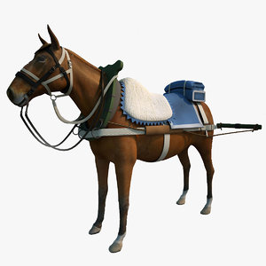 harnessed horse 3d 3ds