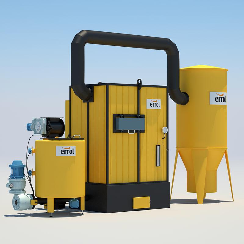 industrial water heating 2 3d model