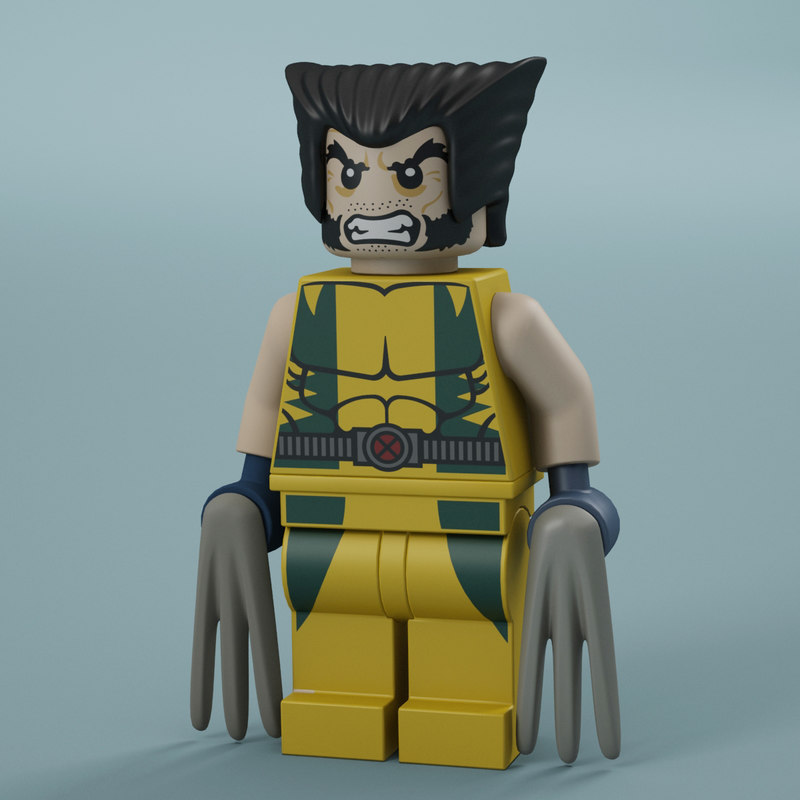 3d model of lego wolverine