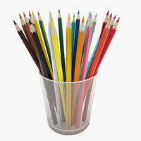 pencils glass 3d model