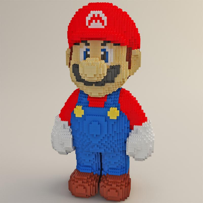 c4d lego mario modelled