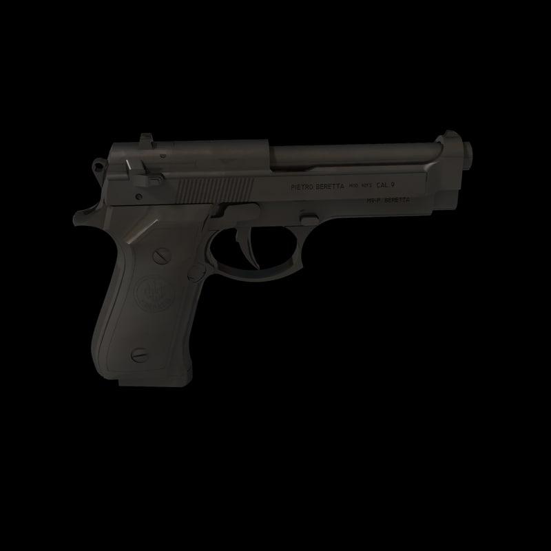 beretta pistols m92 3d obj