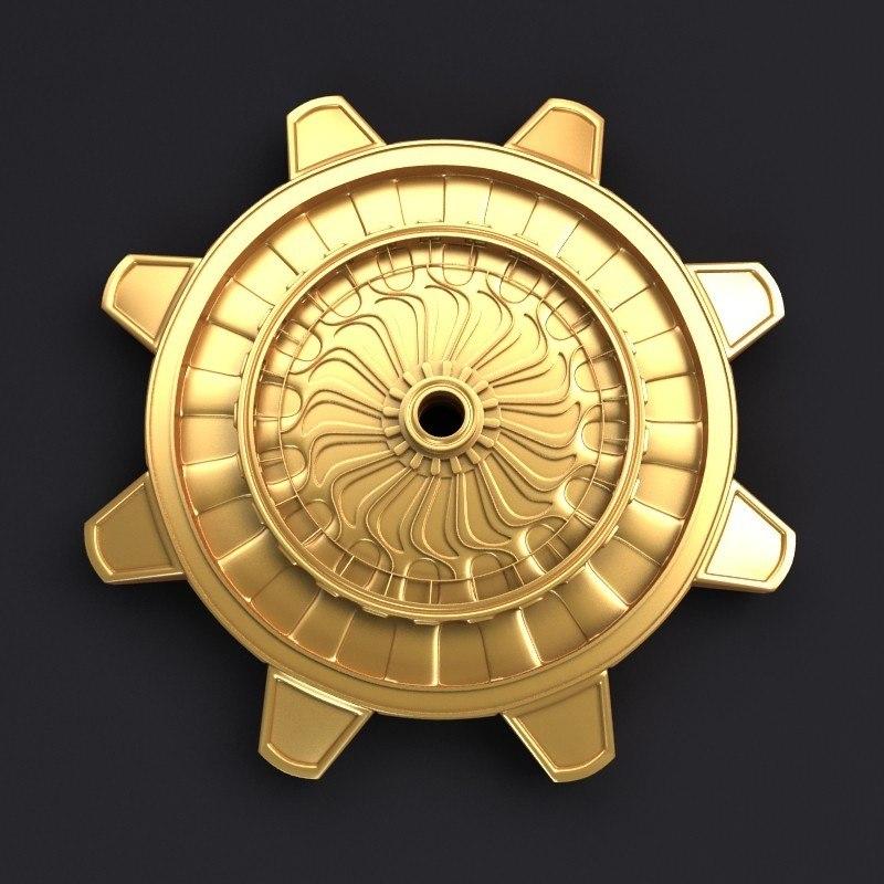 3d golden cog wheel model