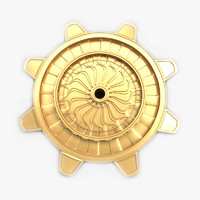 3d golden cog wheel model